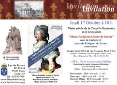 """Jeudi 17 Octobre : Visite privée de la Chapelle Expiatoire et de son exposition temporaire """"Marie-Joséphine Louise de Savoie"""""""